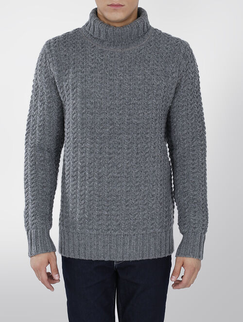CALVIN KLEIN HEAVY CABLE FUNNEL NECK KNIT SWEATER