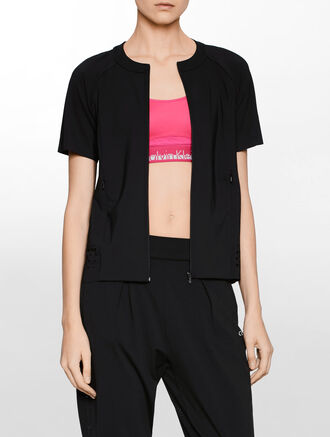 CALVIN KLEIN SQUARE CUT OUT PROFORATED JACKET WITH BONDED DETAIL