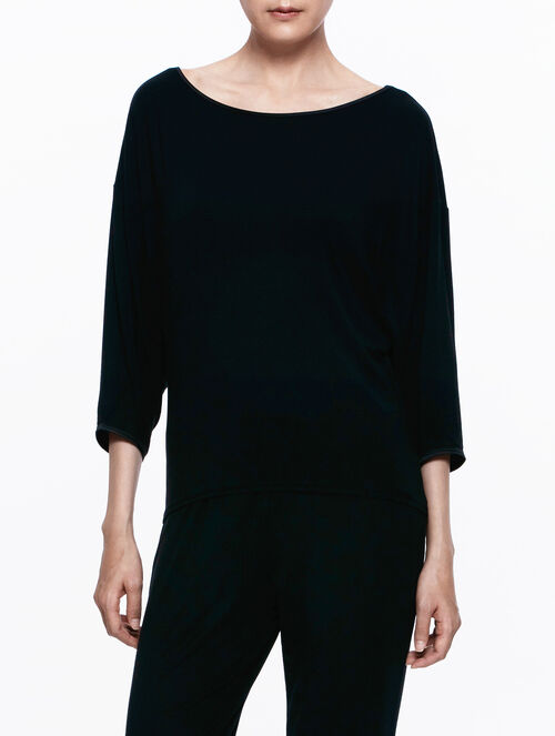 CALVIN KLEIN BLACK SILK KNIT TOP DOLMAN