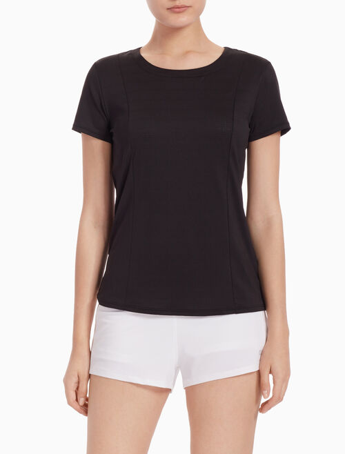 CALVIN KLEIN OPEN BACK TEE WITH MESH PANELS