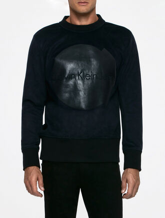 CALVIN KLEIN AMPLIFIED INDIGO JM7260 CREWNECK SUEDE LONG SLEEVES SWEATER