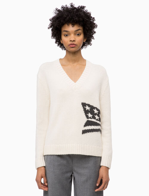 CALVIN KLEIN ABSTRACT GRAPHIC V NECK SWEATER