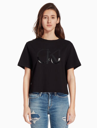CALVIN KLEIN KNIT SHORT SLEEVE TEE WITH LOGO