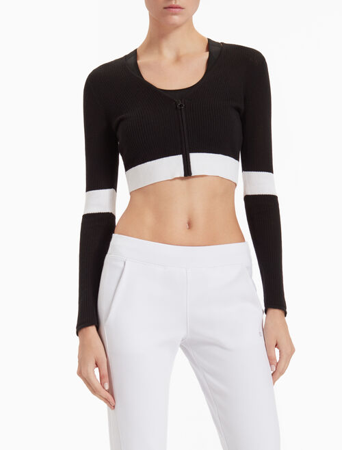 CALVIN KLEIN CROPPED COLOR BLOCK KNIT JACKET