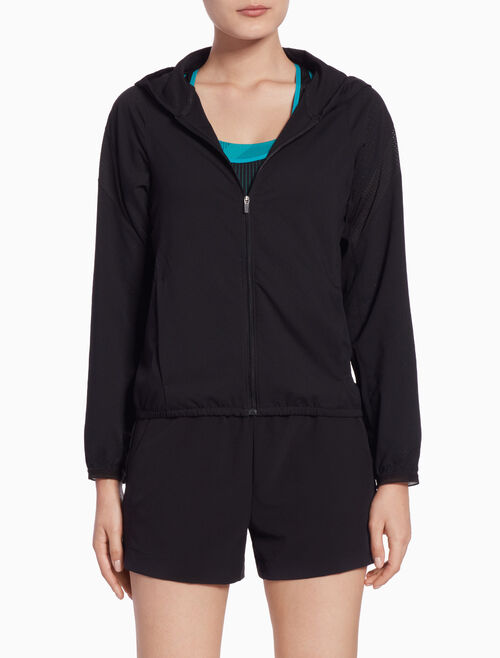 CALVIN KLEIN HOODED WIND JACKET WITH DIAGONAL SLEEVE STRIPES