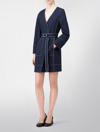CALVIN KLEIN STRETCH PEBBLE TEXTURE COLLARLESS LONG COAT WITH BELT