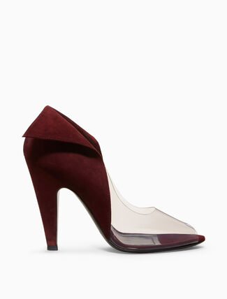 CALVIN KLEIN high-heeled deco peep-toe in suede + clear plastic