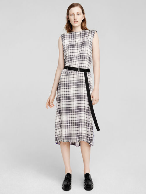 CALVIN KLEIN SILK PRINTED PLAID SLEEVELESS DRESS