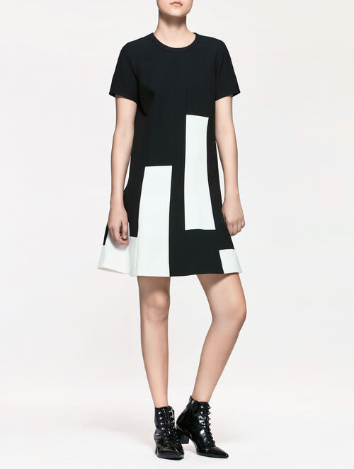 CALVIN KLEIN FUSED MODERN STRETCH PIECED DRESS