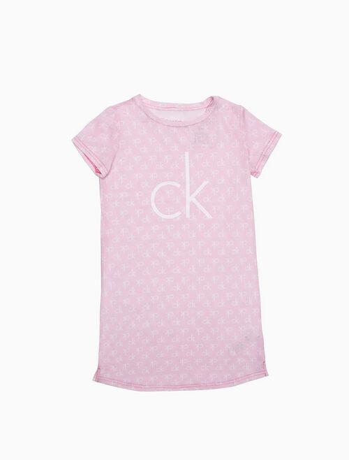 CALVIN KLEIN GIRLS LOGO SHORT SLEEVE NIGHT DRESS