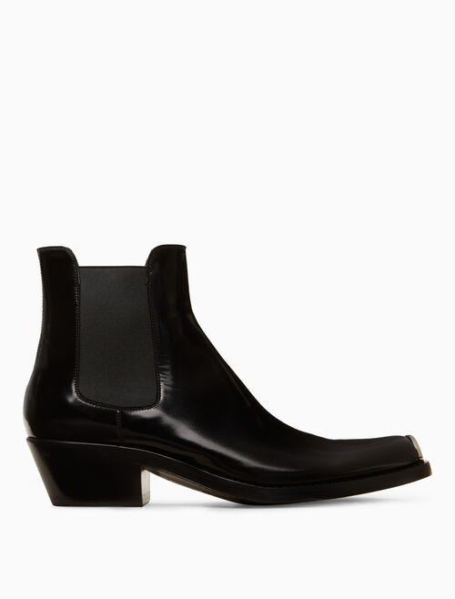 CALVIN KLEIN chelsea boot in calf leather with 205 silver toe plate
