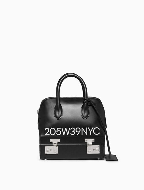 CALVIN KLEIN 205W39NYC LOGO MINI SATCHEL IN CALF LEATHER