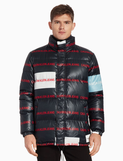 CALVIN KLEIN ALL OVER LOGO DOWN PUFFER JACKET