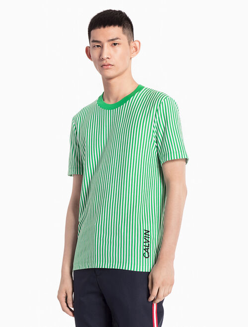 CALVIN KLEIN KNITTED STRIPE TEE WITH LOGO