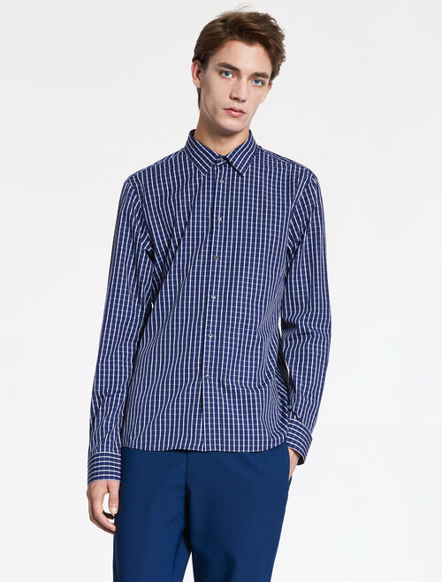 CALVIN KLEIN DOBBY WINDOWPANE SHIRT - INDUSTRIAL SNAP