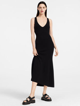 CALVIN KLEIN CREPE GAUZE LONG DRESS