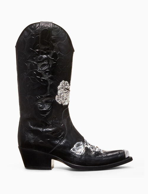 CALVIN KLEIN Twestern boot in embossed calf leather with metallic floral applique and silver toe plate