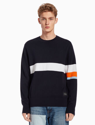 CALVIN KLEIN COLOR STRIPED KNIT PULLOVER SWEATER