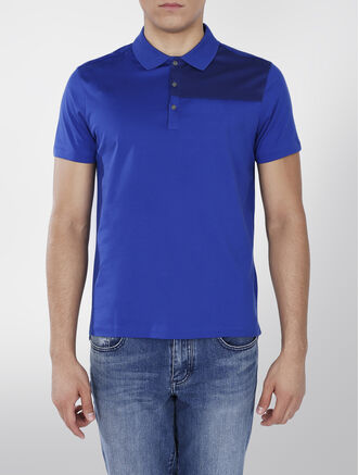 CALVIN KLEIN MERCERIZED COTTON SHORT SLEEVES COLOR BLOCK POLO
