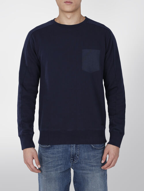 CALVIN KLEIN FRENCH TERRY PRINTED POCKET SWEATSHIRT