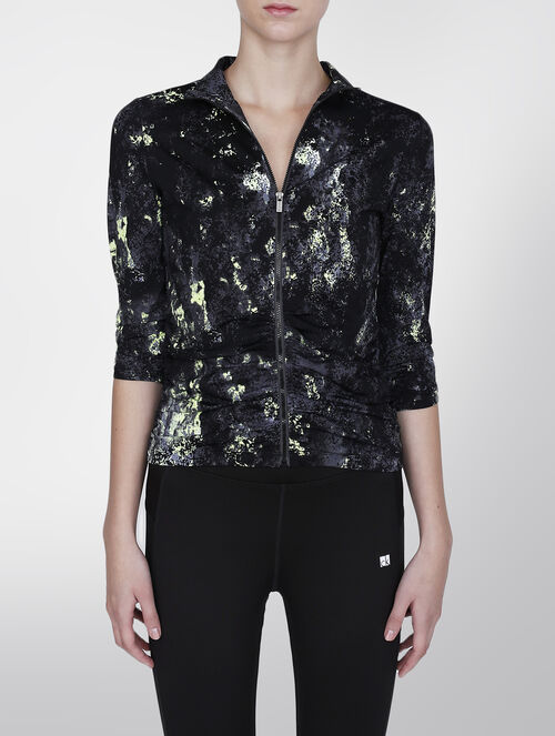 CALVIN KLEIN ILLUSIONS PRINT ELBOW SLEEVE RUCHED JACKET