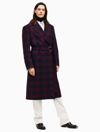 CALVIN KLEIN double breasted belted overcoat