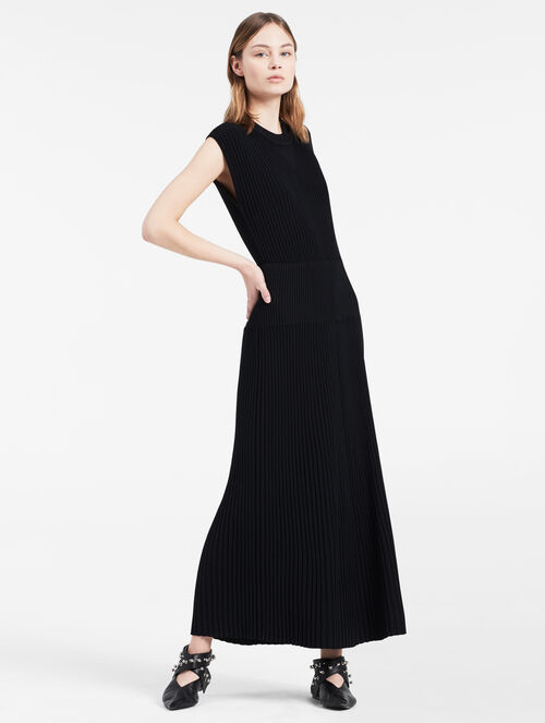 CALVIN KLEIN RIBBED SLEEVELESS LONG DRESS