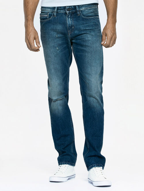 CALVIN KLEIN SCARRED BLUE WASH SLIM STRAIGHT JEANS