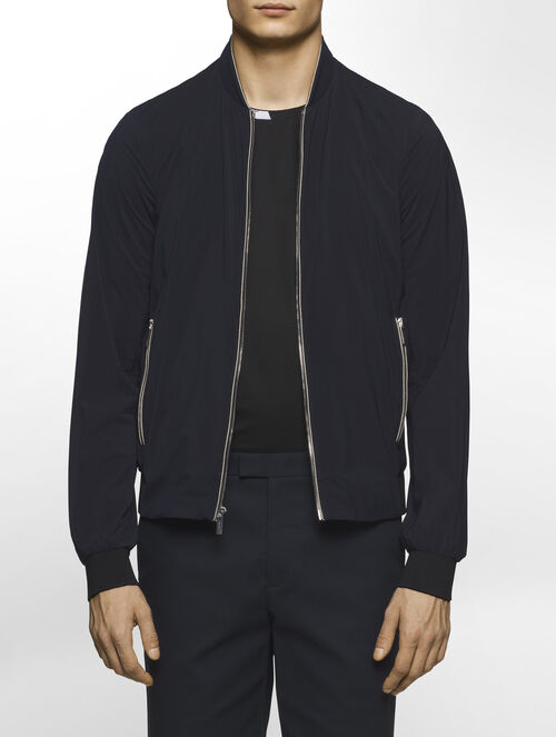 CALVIN KLEIN REFINED MATTE STRETCH OUTERWEAR WITH SWEATER TRIM( WES FIT )