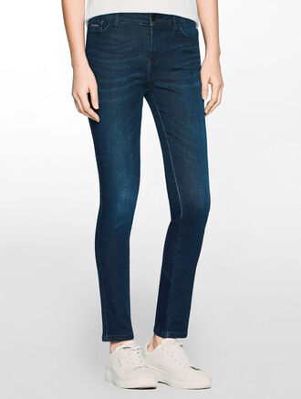 CALVIN KLEIN PETRO BLUE HIGH RISE SKINNY JEANS