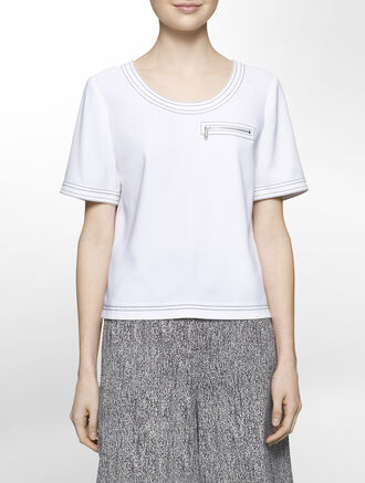 CALVIN KLEIN TWISTED STRETCH SHORT SLEEVES TOP WITH CONTRAST STITCH