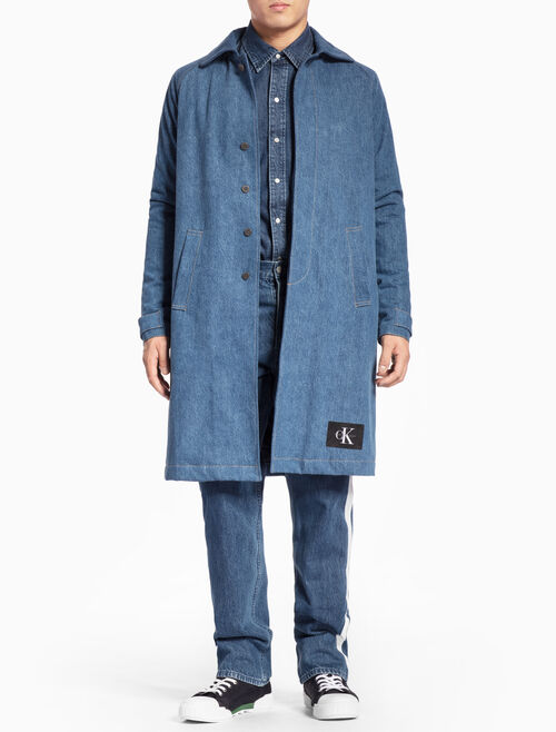 CALVIN KLEIN STONE-WASHED LONG DENIM JACKET