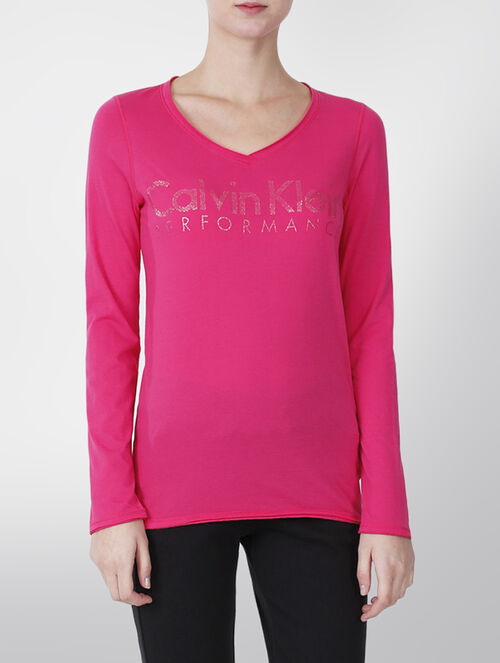 CALVIN KLEIN V NECK LONG SLEEVE TEE WITH GLITTER TECHNIQUE