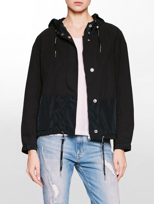 CALVIN KLEIN HOODED MIX MEDIA BOMBER JACKET