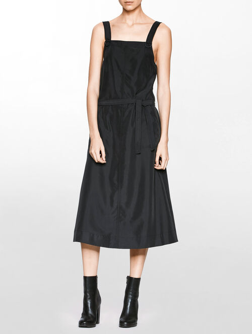 CALVIN KLEIN APRON MIDI DRESS