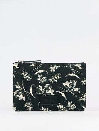 CALVIN KLEIN FLORAL EXPOSURE PRINT  PR MEDIUM ZIPPER POUCH