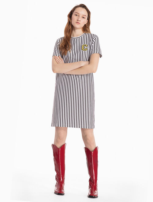 CALVIN KLEIN KNITTED STRIPE T-SHIRT DRESS