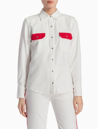 CALVIN KLEIN コントラストポケット付きウエスタン リーンデニムシャツ