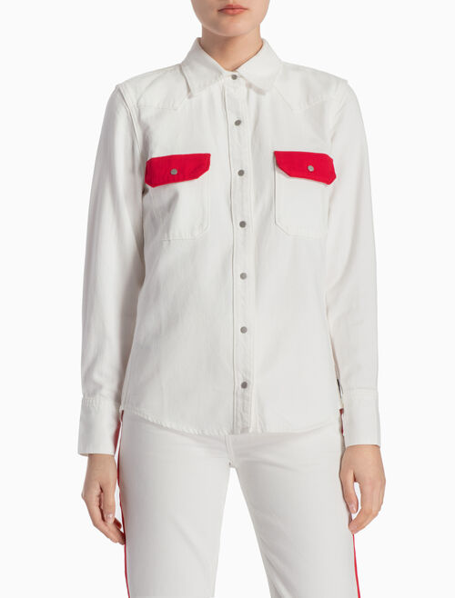 CALVIN KLEIN WESTERN LEAN DENIM SHIRT WITH CONTRASTIVE POCKETS