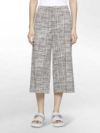 CALVIN KLEIN BLURRED GRID JACQUARD WIDE LEG PANTS