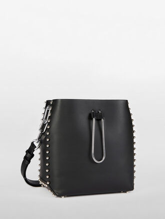 CALVIN KLEIN ENVELOPED STUDDED BUCKET BAG