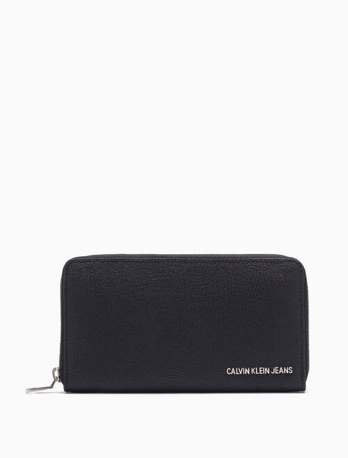 CALVIN KLEIN TWILL EMBOSS LONG ZIP-AROUND WALLET