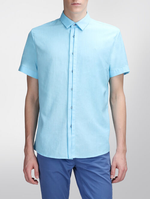 CALVIN KLEIN PLACKET DETAIL LINEN SHIRT