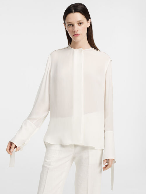 CALVIN KLEIN DOUBLE GEORGETTE CREW NECK SHIRT