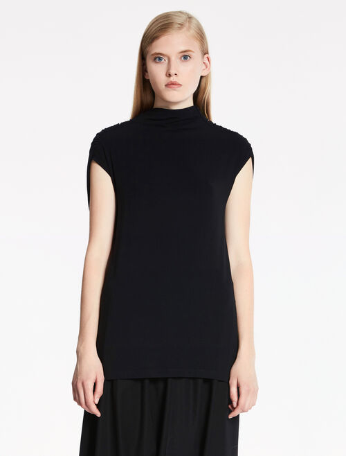 CALVIN KLEIN STRETCH CASHMERE MODAL RUCHED BACK TOP
