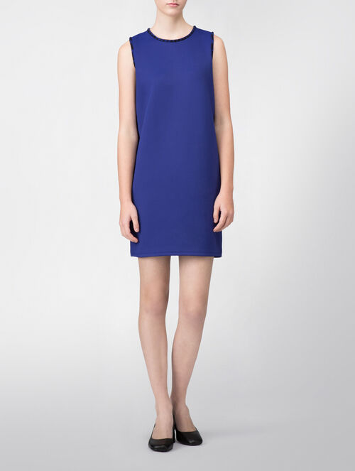 CALVIN KLEIN AIR INTERLOCK SLEEVELESS DRESS WITH JACQUARD TRIM