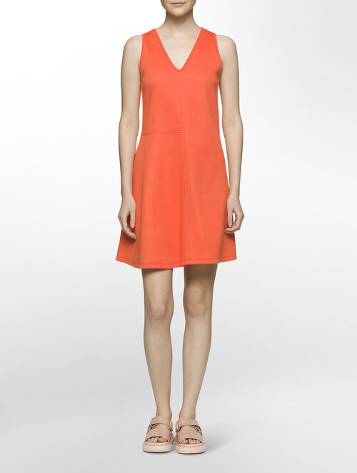 CALVIN KLEIN SCULPTED DOUBLE FACE JERSEY RACERBACK SEQUINNED DRESS