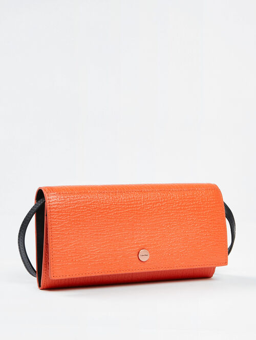CALVIN KLEIN TEXTURE AURA LONG FOLD WITH STRAP WALLET