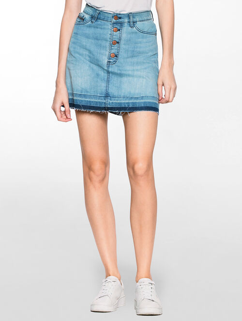 CALVIN KLEIN ACID BLUE STRETCH DENIM SKIRT