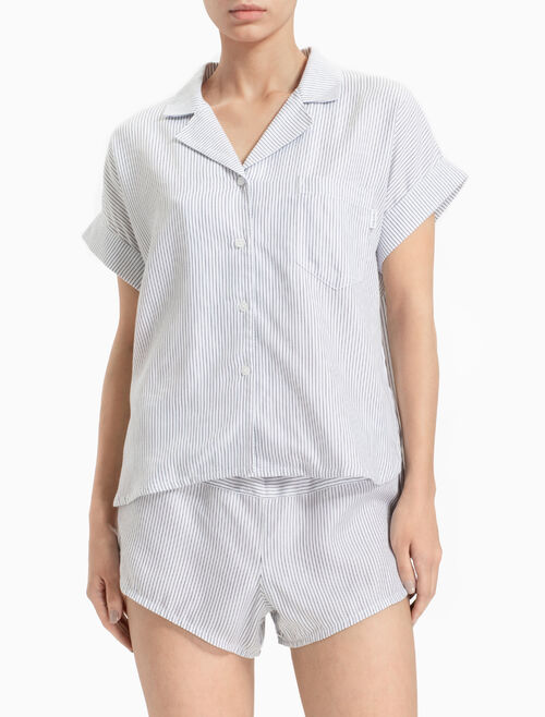 CALVIN KLEIN TENCEL BUTTON-DOWN TOP